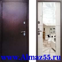 Входная дверь Квадра Зеркало Беленый дуб