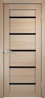 Дверь межкомнатная Стиль-1 Капучино Чёрное стекло